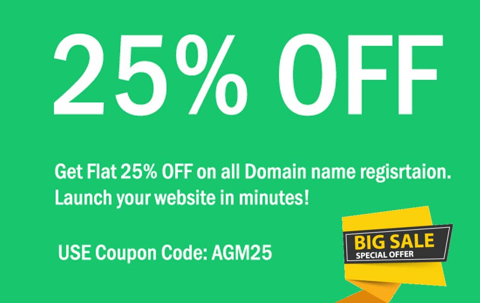 agmwebhosting - Get 25% Discount on Domain Name Registration