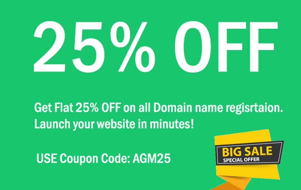 agmwebhosting - Get 25% Discount on Domain Name Registration