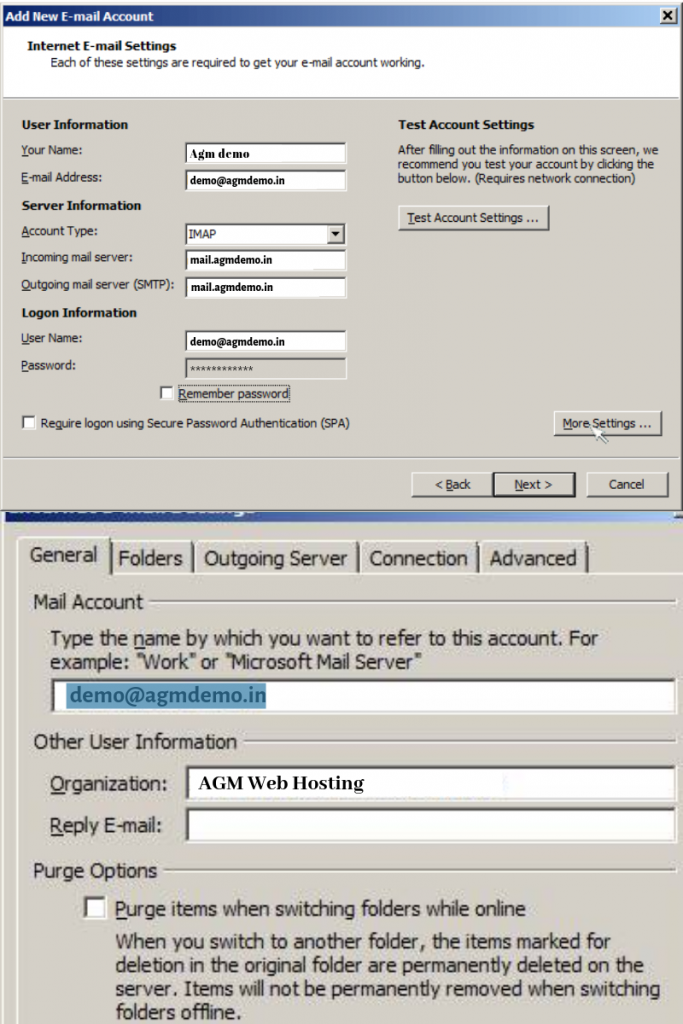 how to setup your cpanel email in outlook