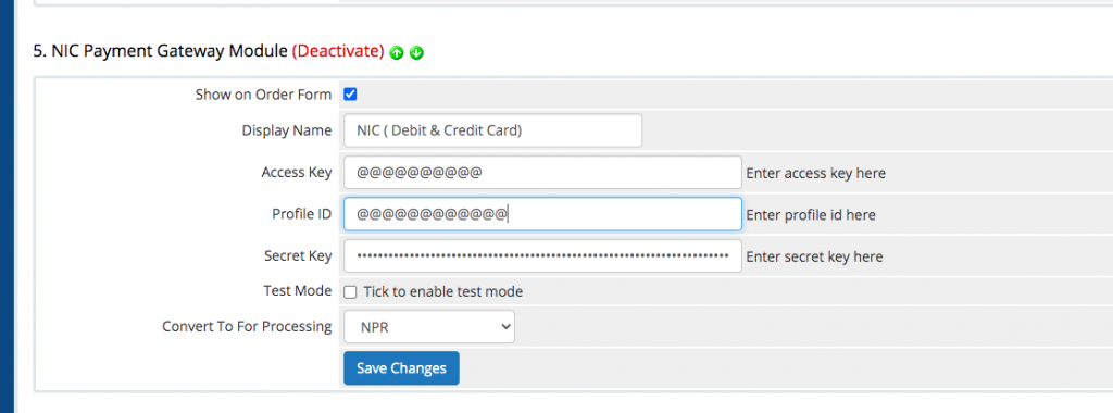 NIC ASIA Payment Gateway Module for WHMCS